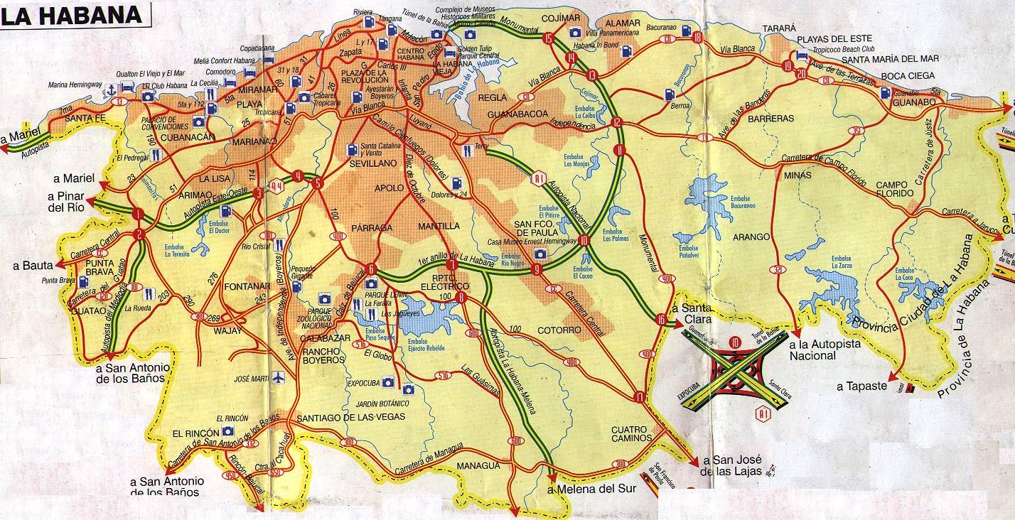 Havana Cuba Tourist Map Havana Cuba mappery