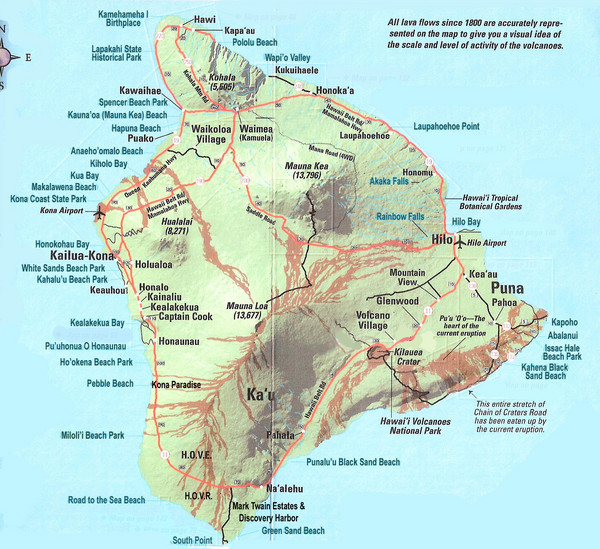 Hawaii Map Lava.Hawaii Island Map Hawaii Mappery