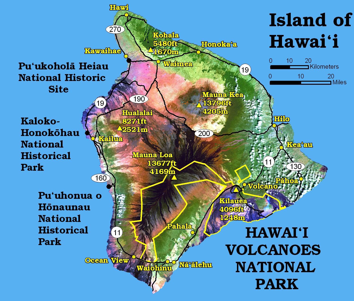 Pics Photos  Hawaii Volcanoes Map