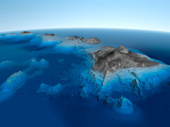 Hawaiian Islands Bathymetric Map