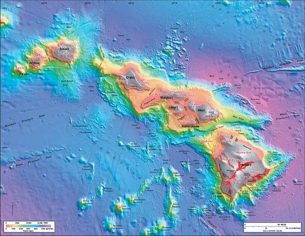 Hawaiian Islands Sea Floor Map - hawaii • mappery
