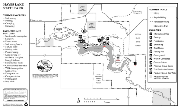 Hayes Lake State Park Summer Map