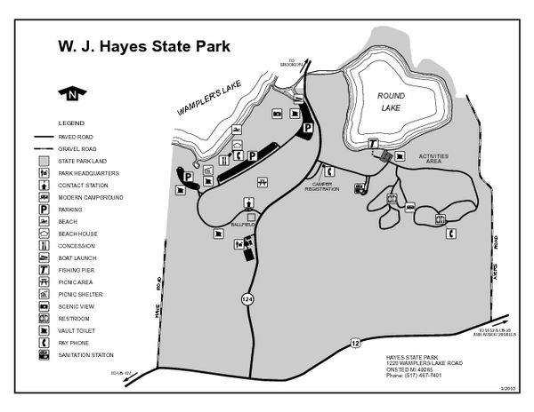 Hayes State Park, Michigan Unit Map