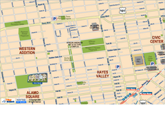 Hayes Valley, Fillmore, Western Addition, Alamo Square tourist map