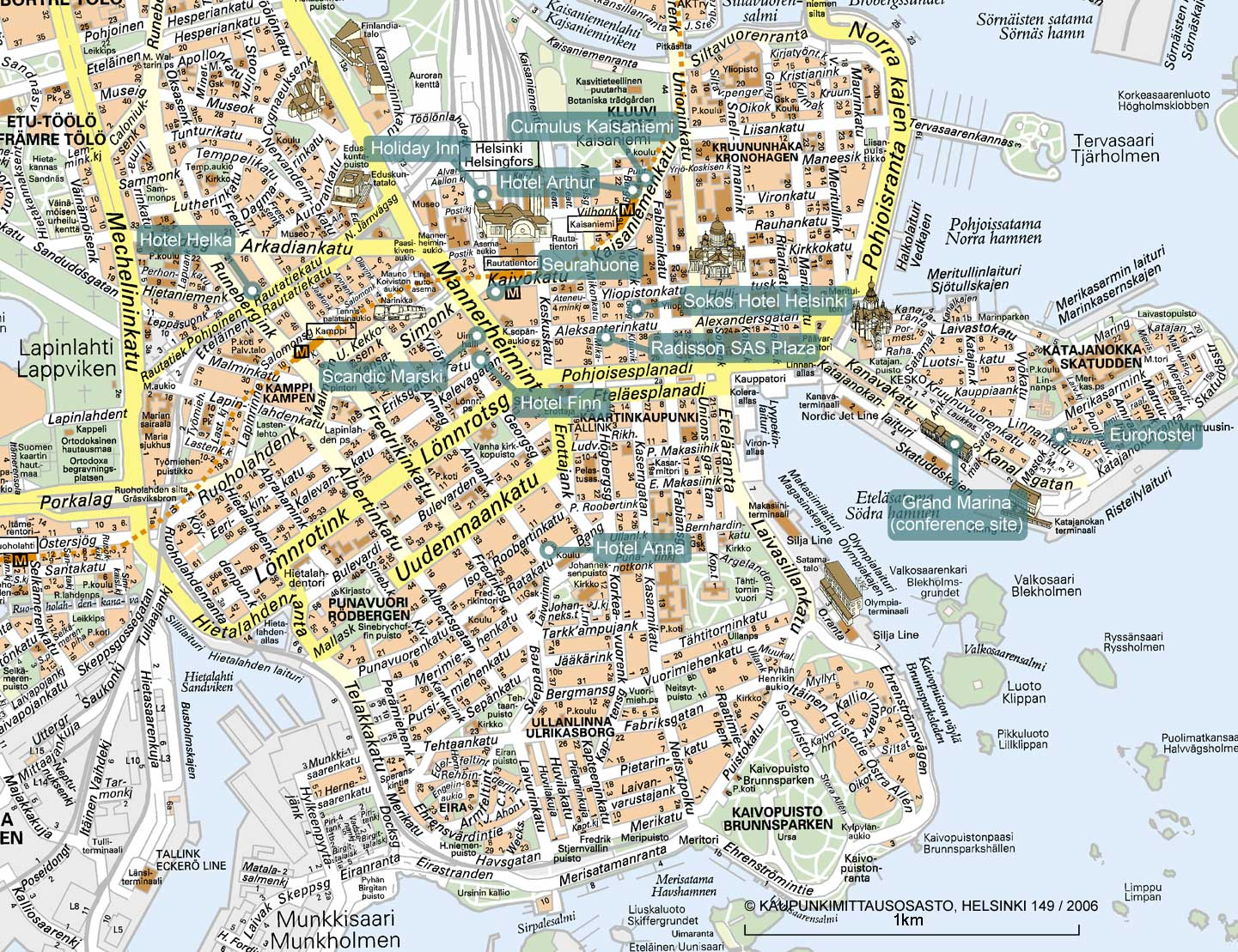 City Maps Tourist Map Of Helsinki