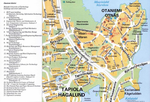 Helsinki University of Technology, Otaniemi District Map