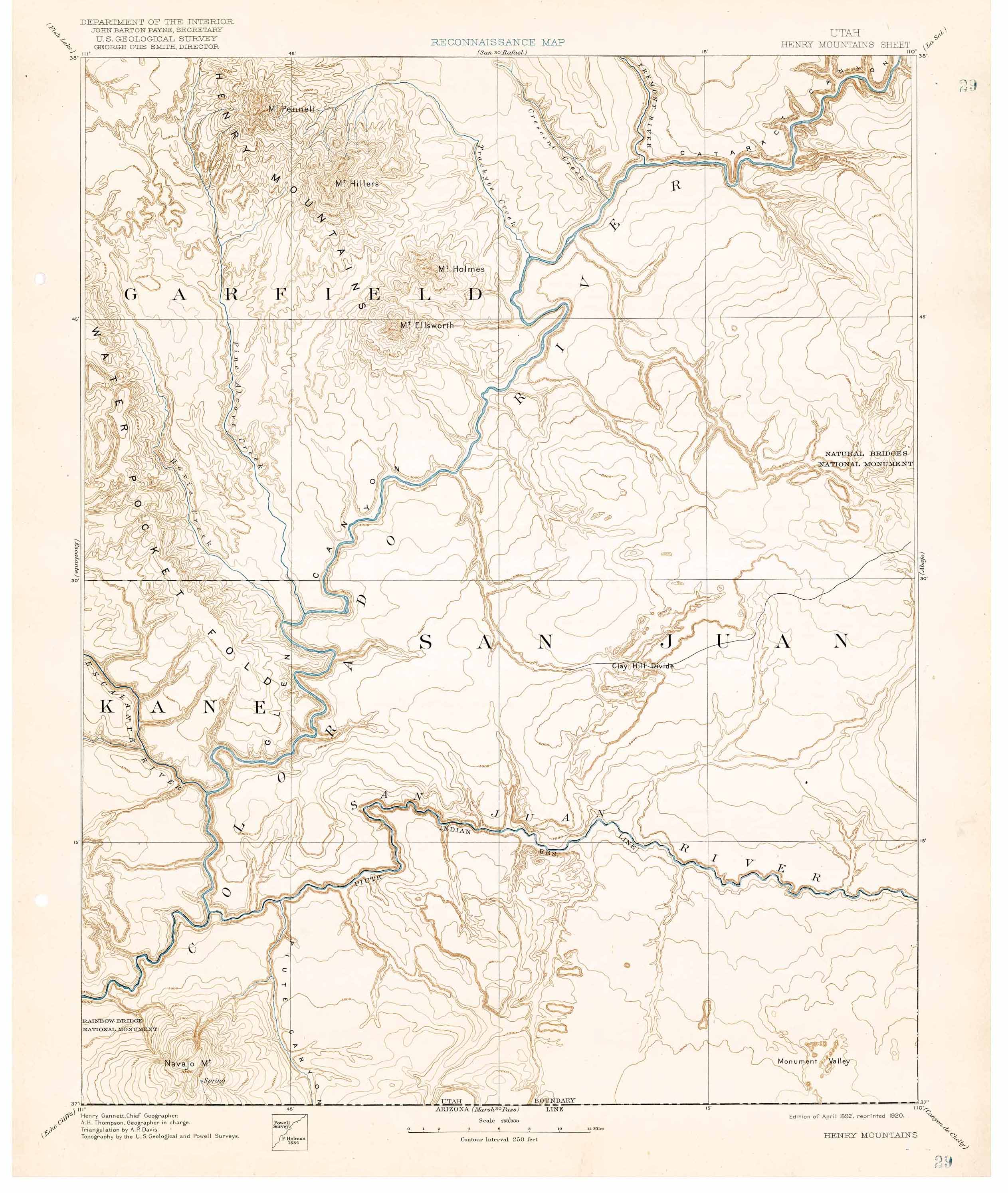 Henry Mtns Topo Map Circa 1892  Henry Mountains UT  Mappery