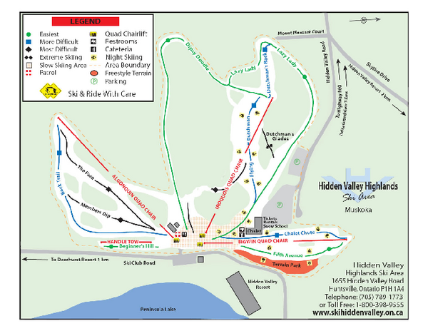 Hidden Valley Highlands Ski Trail Map