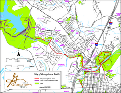 Hiking and Biking Trails, Georgetown, Texas Map