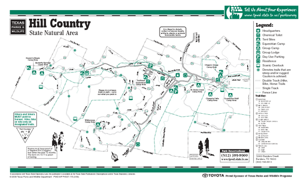 Hill Country Texas State Park Facility and Trail Map - Hill Country ...
