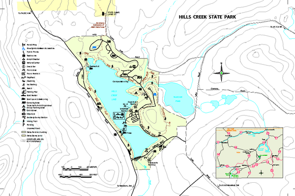Hills Creek State Park map