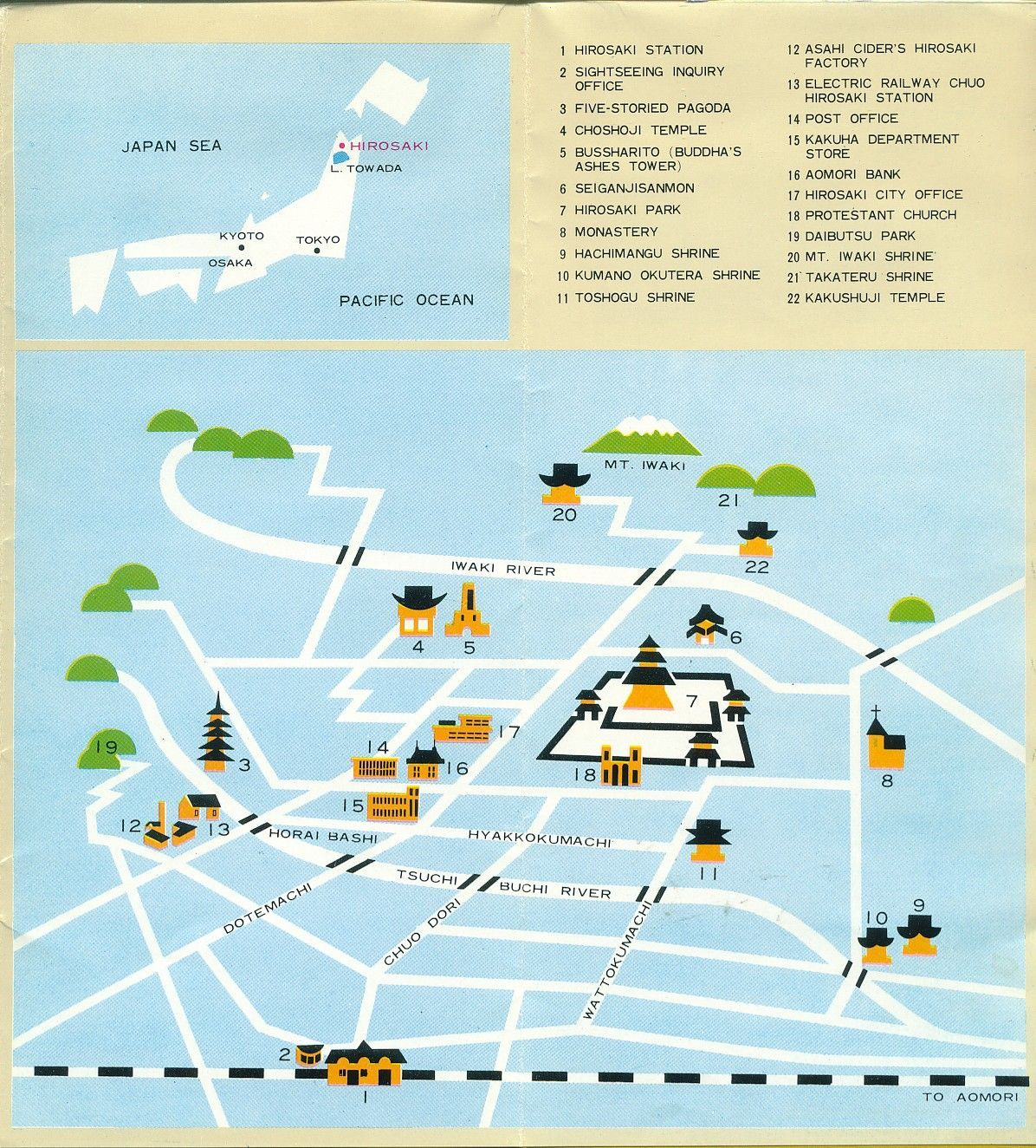 Hirosaki Japan Tourist Map Hirosaki Japan mappery – Japan Tourist Map