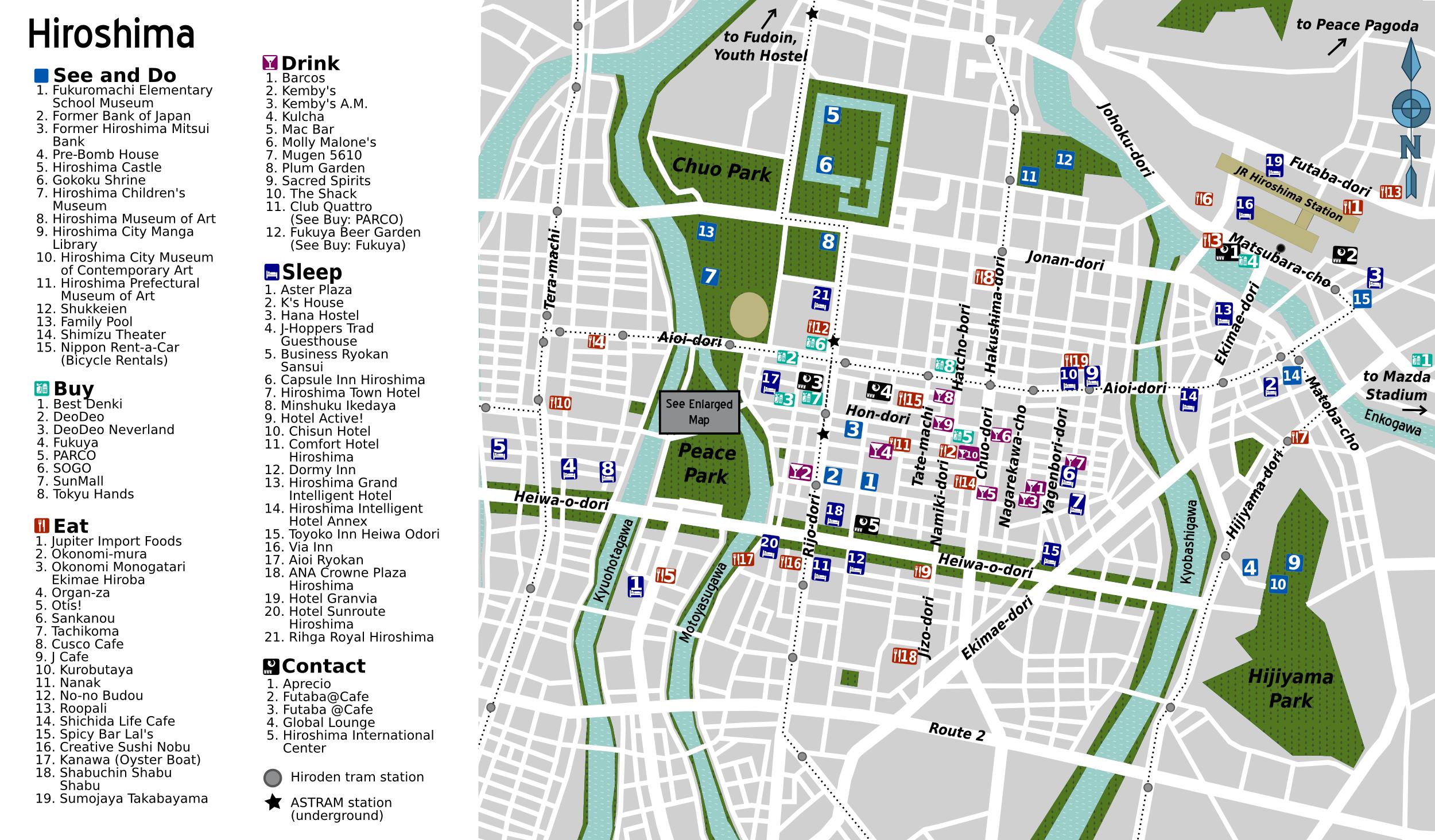 Hiroshima Tourist Map Hiroshima Japan mappery