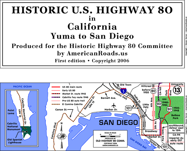 Historic Highway Map San Diego Bay SD USA Mappery - Us highway 80 map