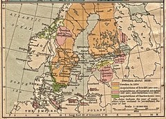 Historic map of Sweden in 1658