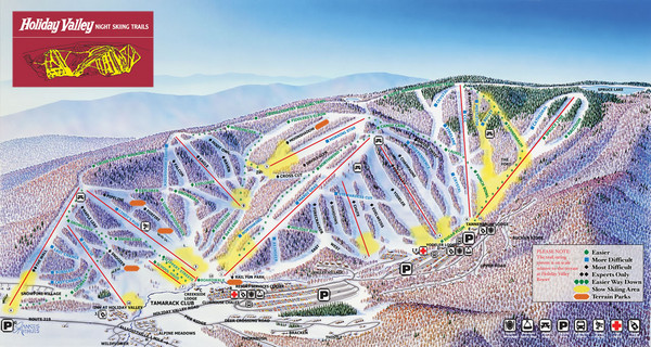 Holiday Valley Resort Ski Trail Map - Great Valley New York United on