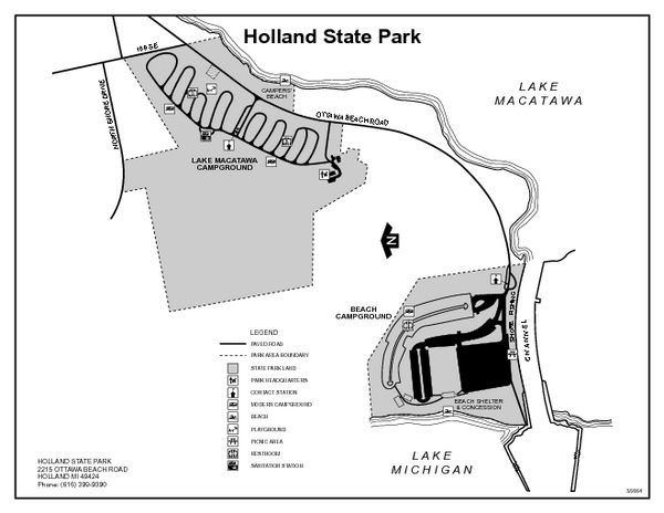 Holland State Park, Michigan Site Map