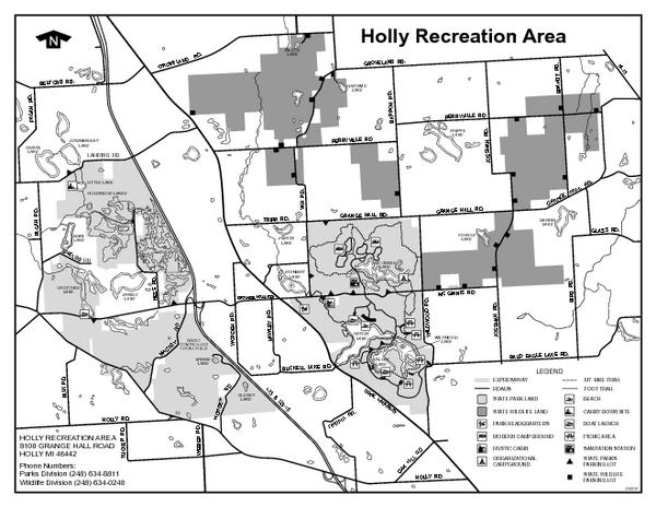 Holly State Recreation Area, Michigan Site Map