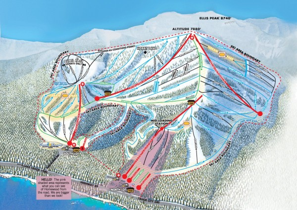 Official ski trail map of Homewood ski area from the 2007-2008 season.
