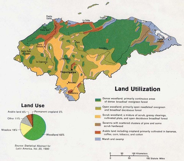 Honduras land use and land utilization 1983 map honduras mappery fullsize honduras land use and land utilization 1983 map gumiabroncs Gallery