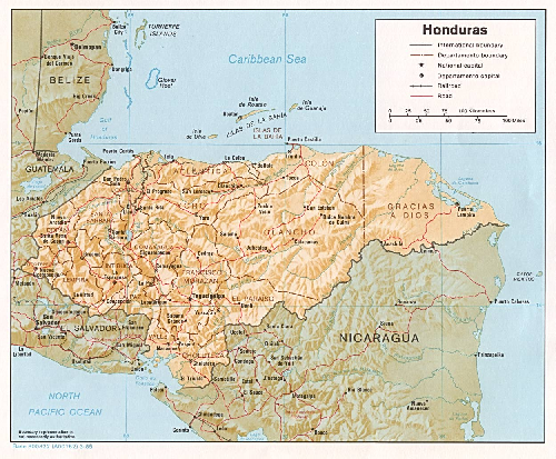 Honduras Relief Map, 1985 Map