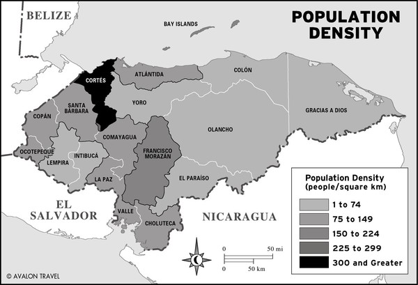Honduras population density Map