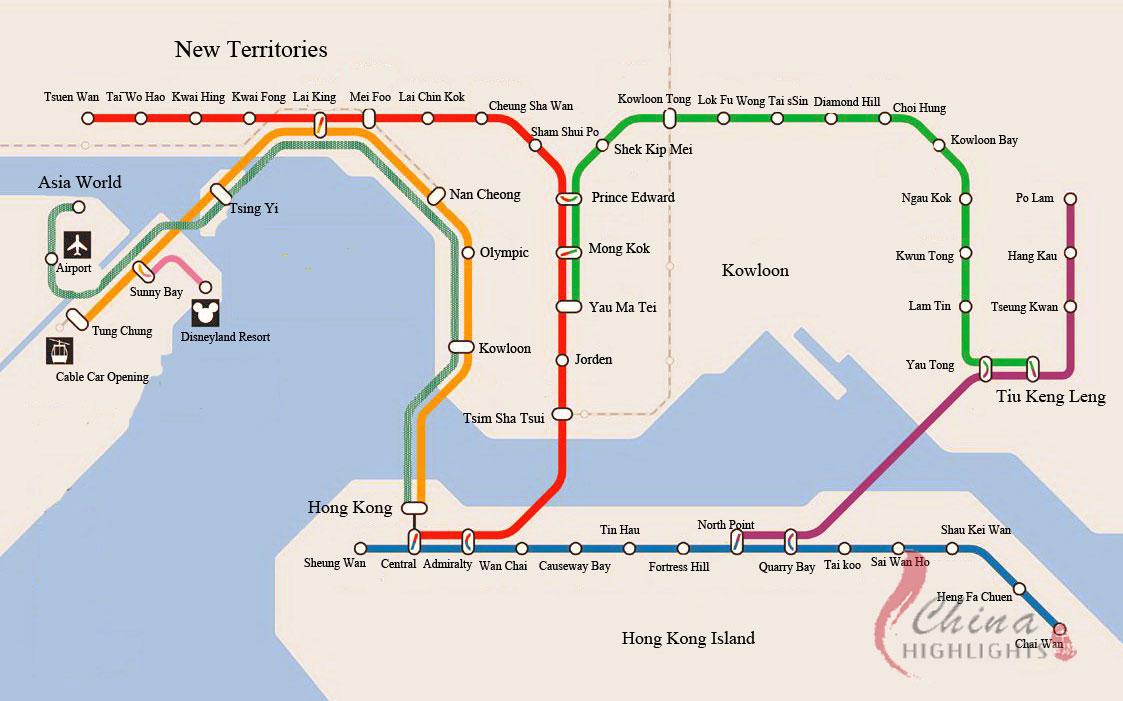 Subway Map Of Hong Kong.Hong Kong Subway Map Hong Kong Mappery