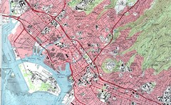 Honolulu Harbor, Hawaii Topographic Tourist Map