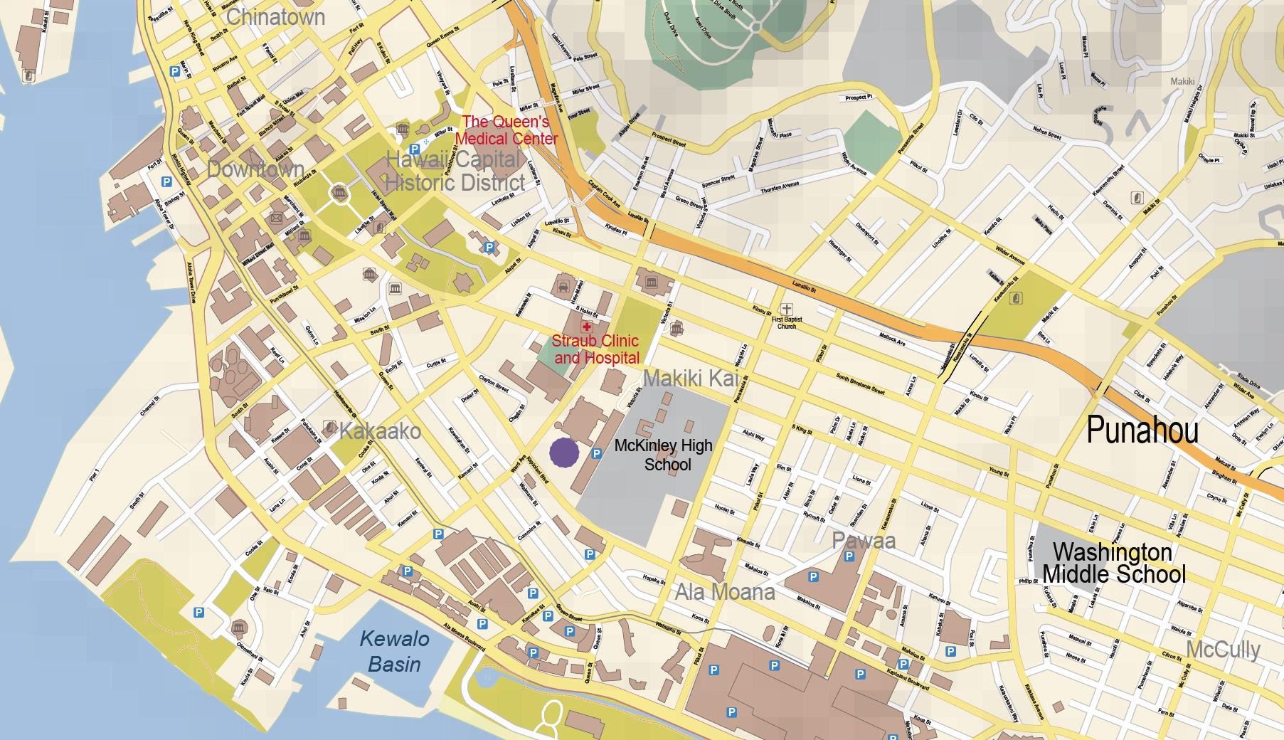Honolulu Oahu Mapillustratorcom Map oahu mappery