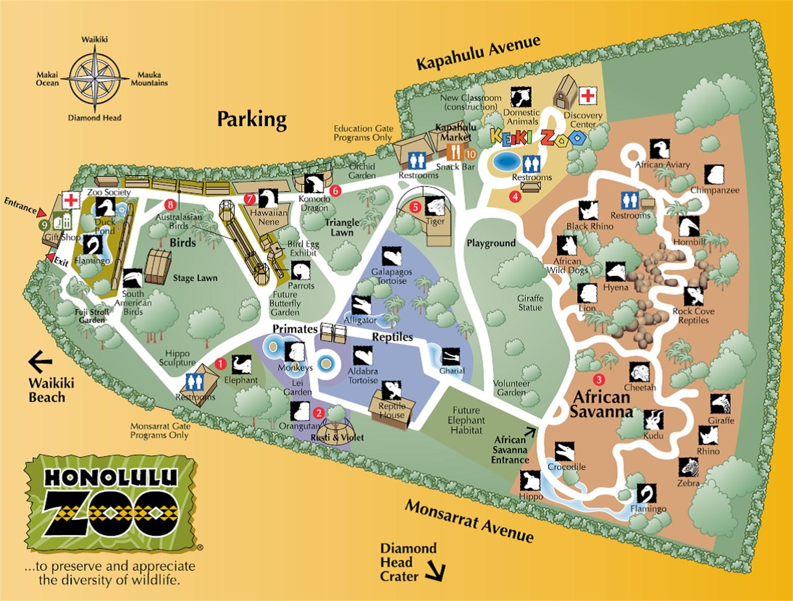Honolulu Zoo Map 151 Kapahulu Ave Honolulu HIlrm mappery – Honolulu Tourist Attractions Map