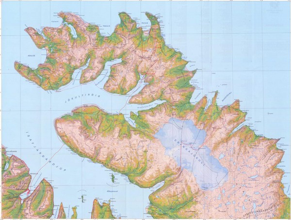 Topographic Map Of Iceland.Hornstrandir Topo Map Hornstrandir Iceland Mappery