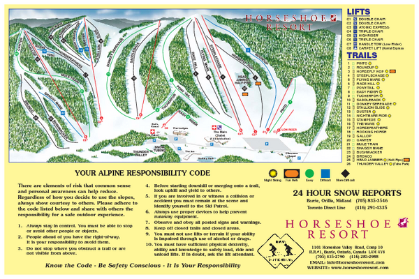 Trail map from Horseshoe Resort, which provides downhill and nordic skiing.