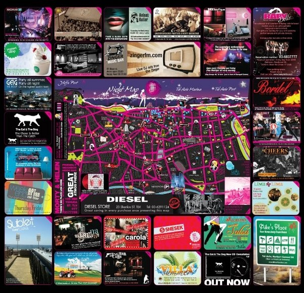 Hot night map tel aviv israel 2009 tel aviv mappery – Tourist Map Of Tel Aviv