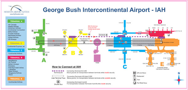 Houston Airport IAH Map   Houston Tx Airport • mappery
