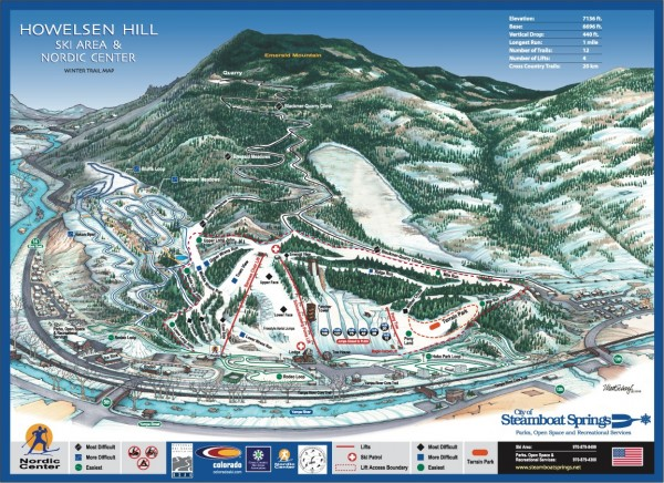 Howelsen Hill Ski Trail Map - Steamboat Springs CO • mappery