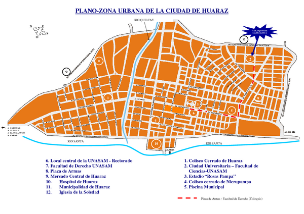 Huaraz Tourist Map