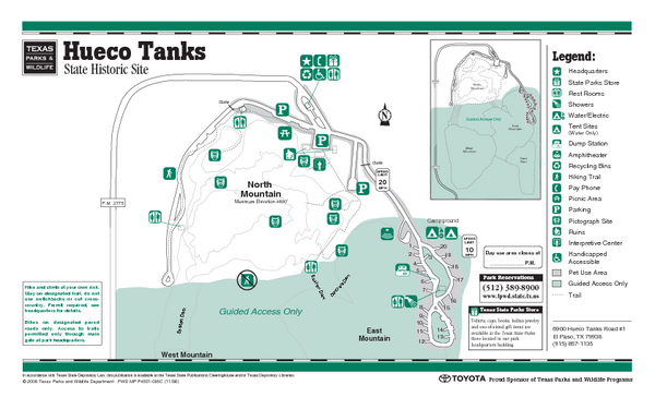 Hueco Tanks, Texas State Park Facility and Trail Map