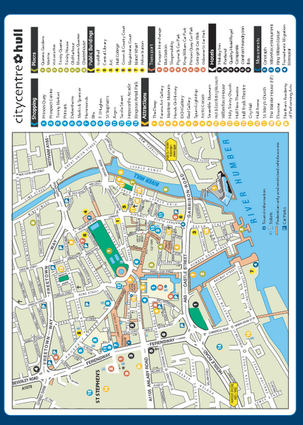 Hull City Centre Map Hull UK mappery