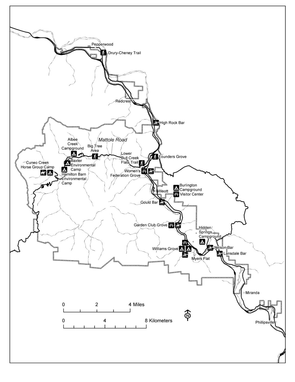 Humboldt Redwoods State Park Map Humboldt Redwoods State