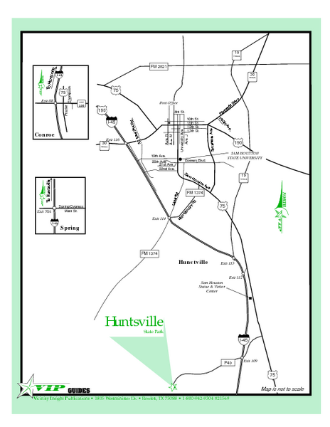 Huntsville, Texas State Park Location Map