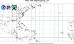 Hurricane Tracking Chart, Atlantic Map