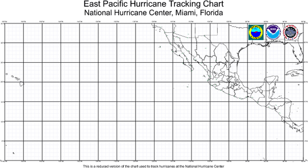Hurricane Tracking Chart, East Pacific Map