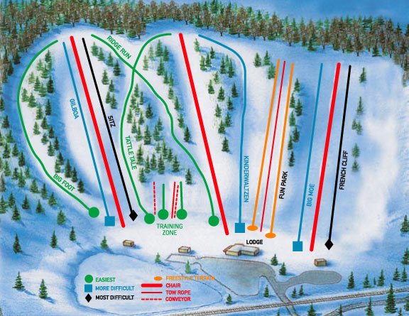 Hyland Ski and Snowboard Area Ski Trail Map