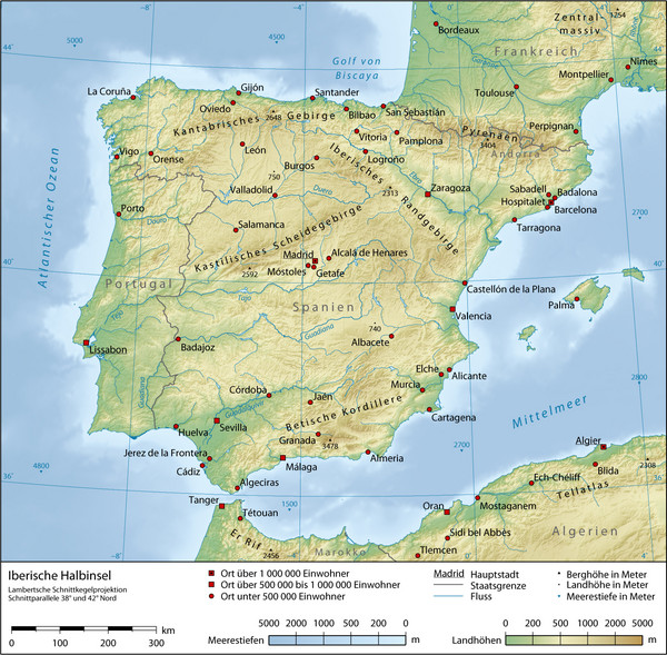 Iberian Peninsula Physical Map Spain Mappery - Portugal map physical