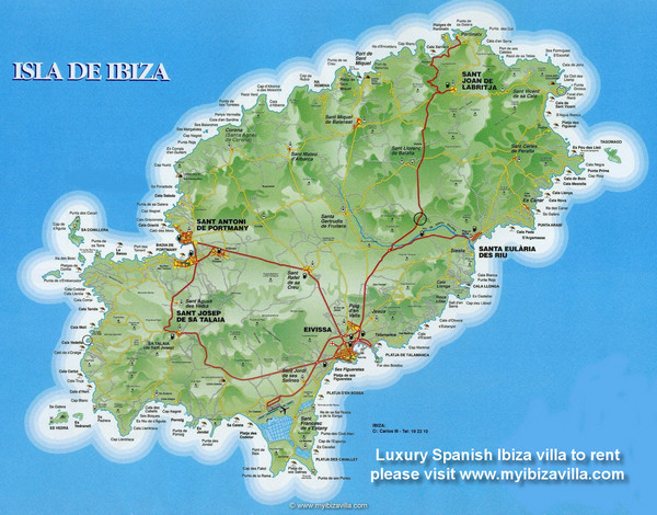 Ibiza Island Map Isla de Ibiza Spain mappery