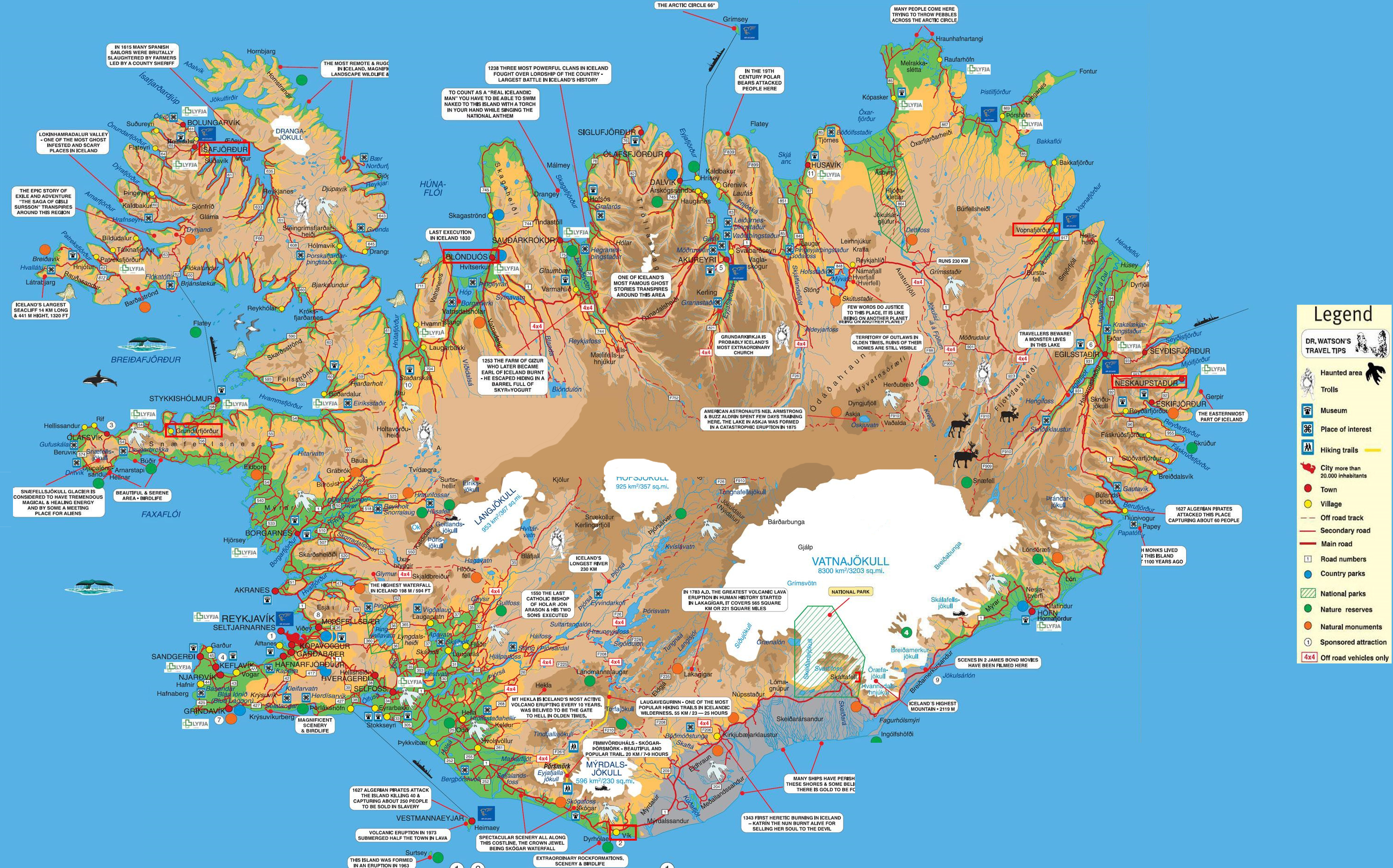 Iceland tourist map see map details from icelandreview com