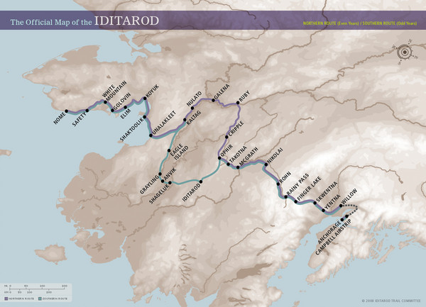 Iditarod Route Map • mappery