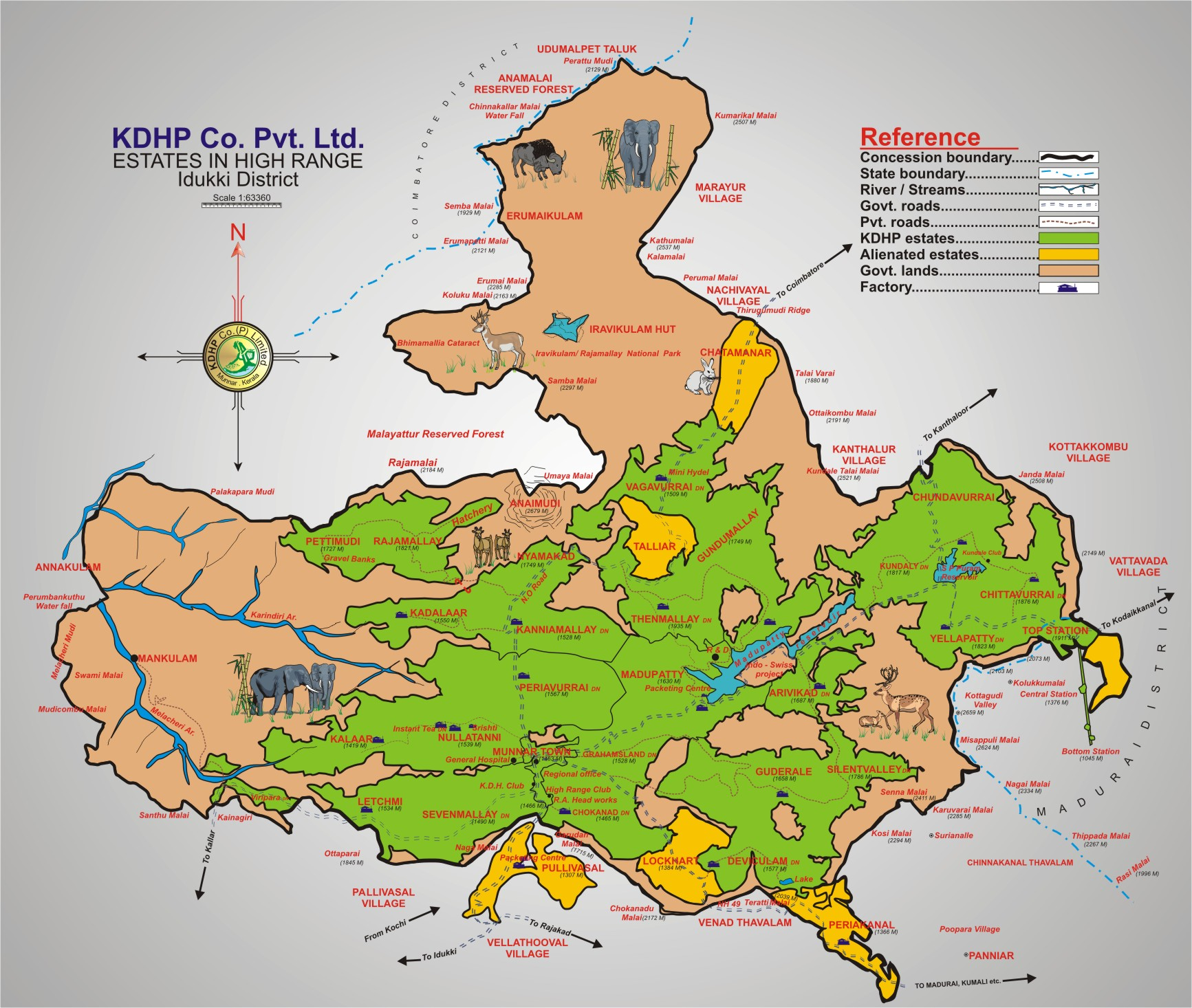 idukki district estate map  munnar kerala india • mappery -