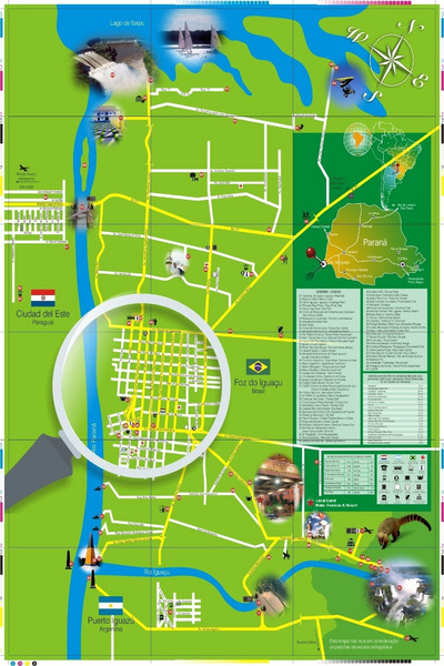 Iguacu Falls Tourist Map Foz do Iguacu Brazil mappery
