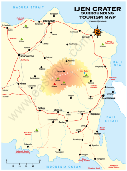 Ijen Crater Tourist Map